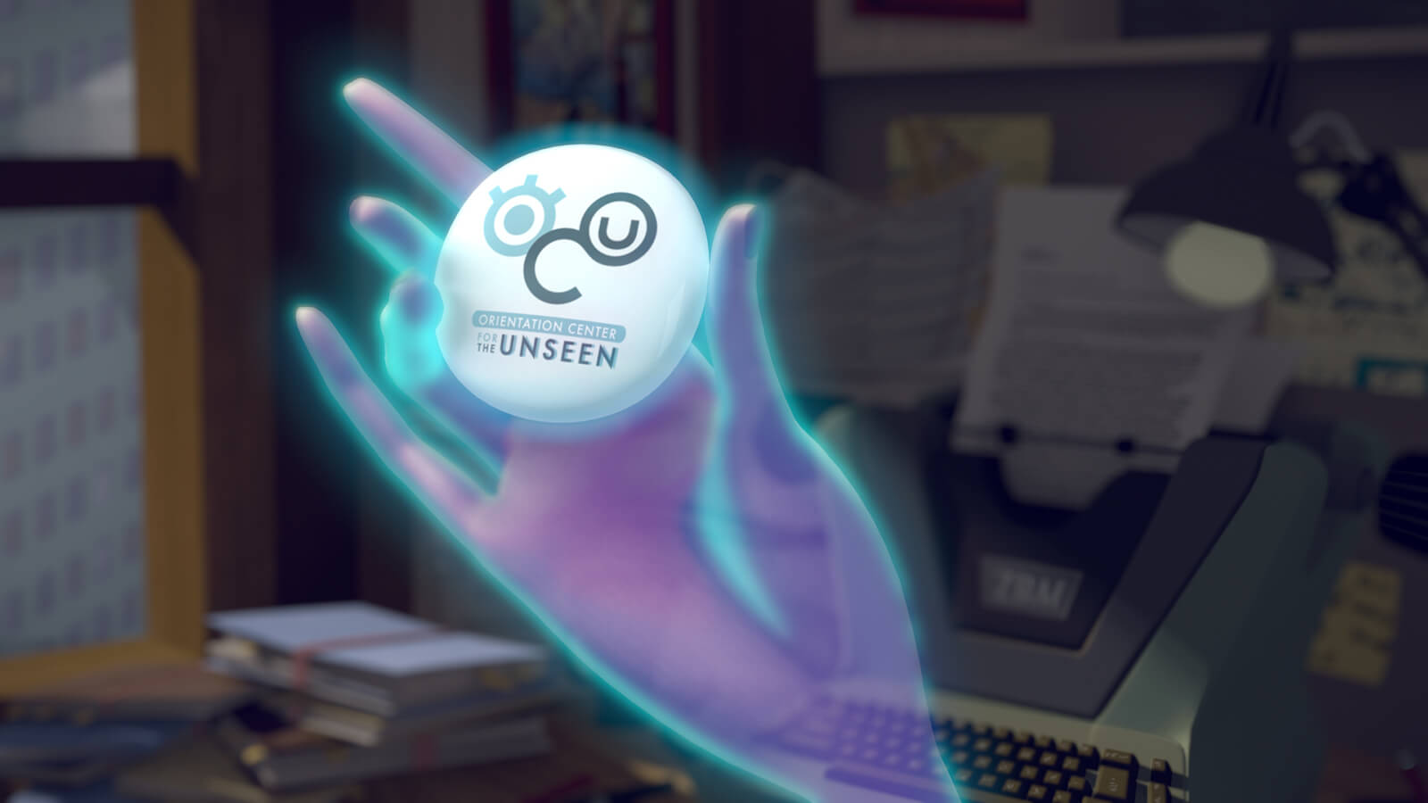 """A translucent, glowing blue hand holds up a round, white button reading """"Orientation Center for the Unseen."""""""