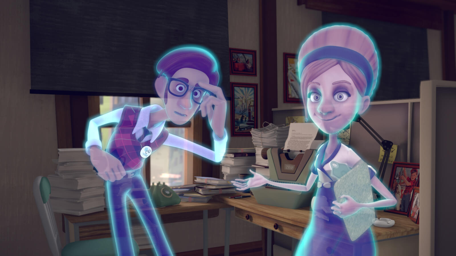 A translucent, glowing blue man and another spectral woman holding a clipboard stare directly at the viewer.