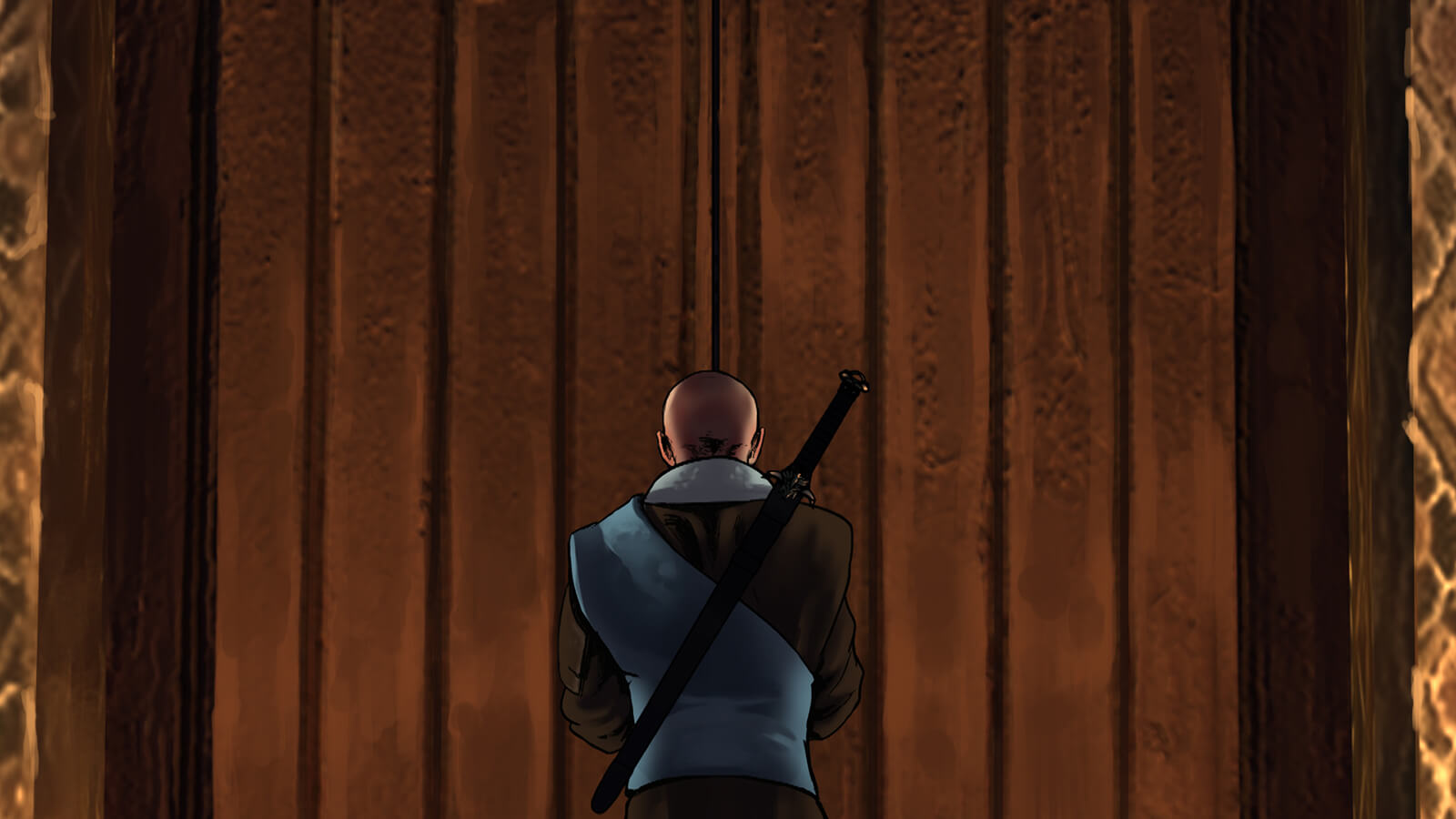 A bald man seen from behind with a sword slung over his back stands at a tall wooden door