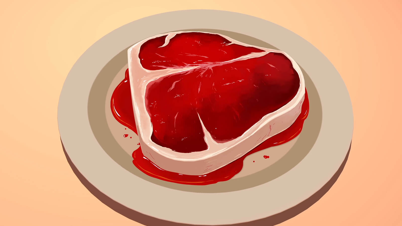 A closeup of a glistening uncooked steak on a white plate. Blood puddles underneath it.