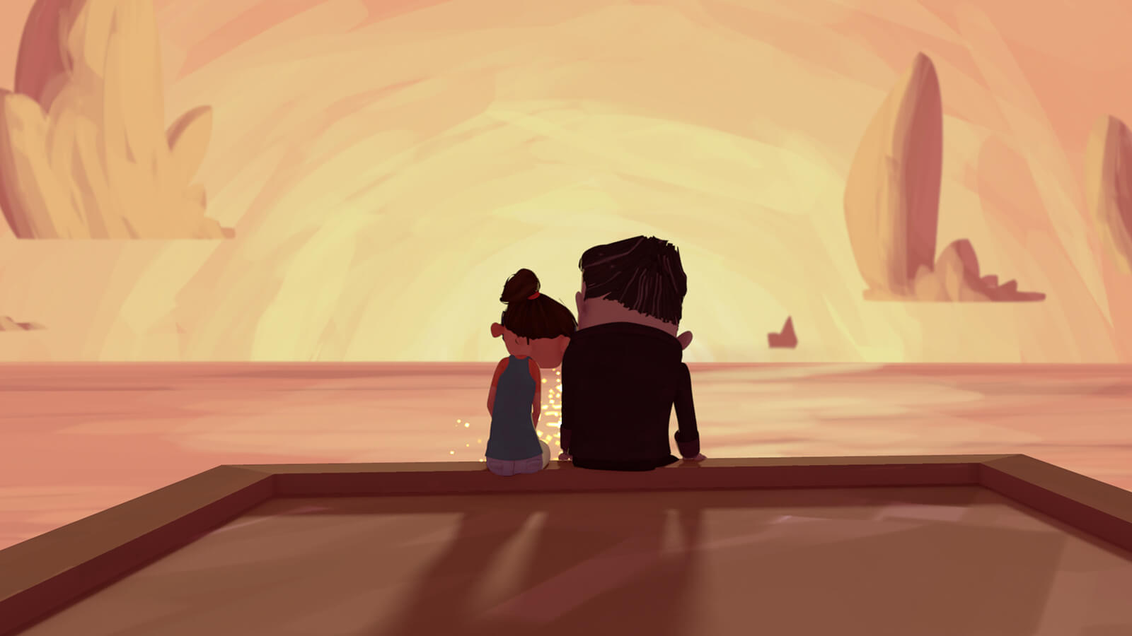 From behind, a girl rests her head on the shoulder of a man as they sit on an edge looking out at an orange sea and sky