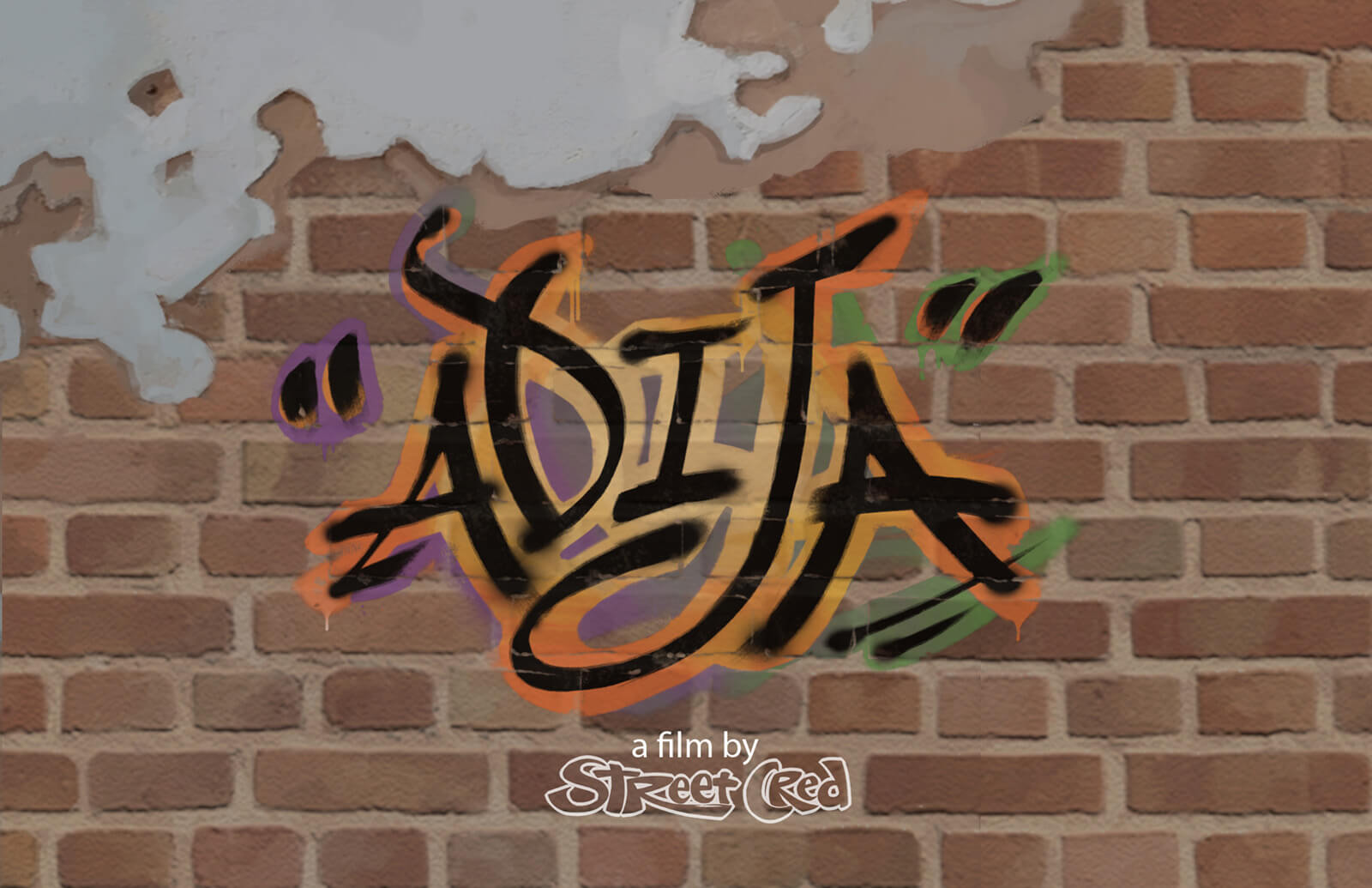 "A title card reading ""Adija"" in stylized black and orange script. ""A film by Street Cred"" is seen below."