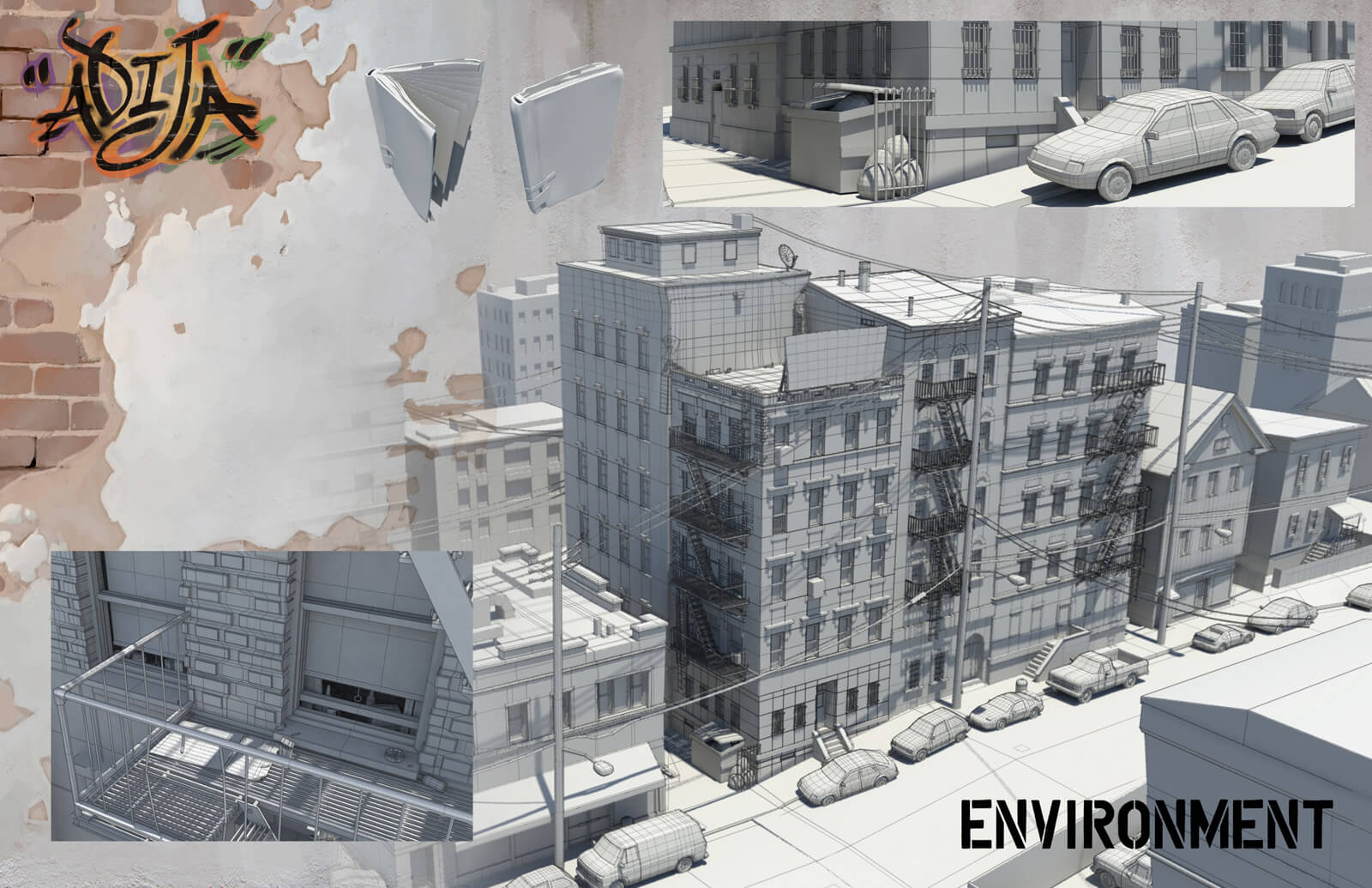 Environmental design sheet showing 3D wireframe models of the apartment exteriors in the film Adija