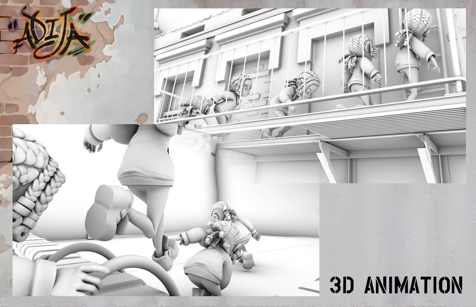 3D Animation sheet depicting an uncolored model of a young girl running up a fire escape of a building