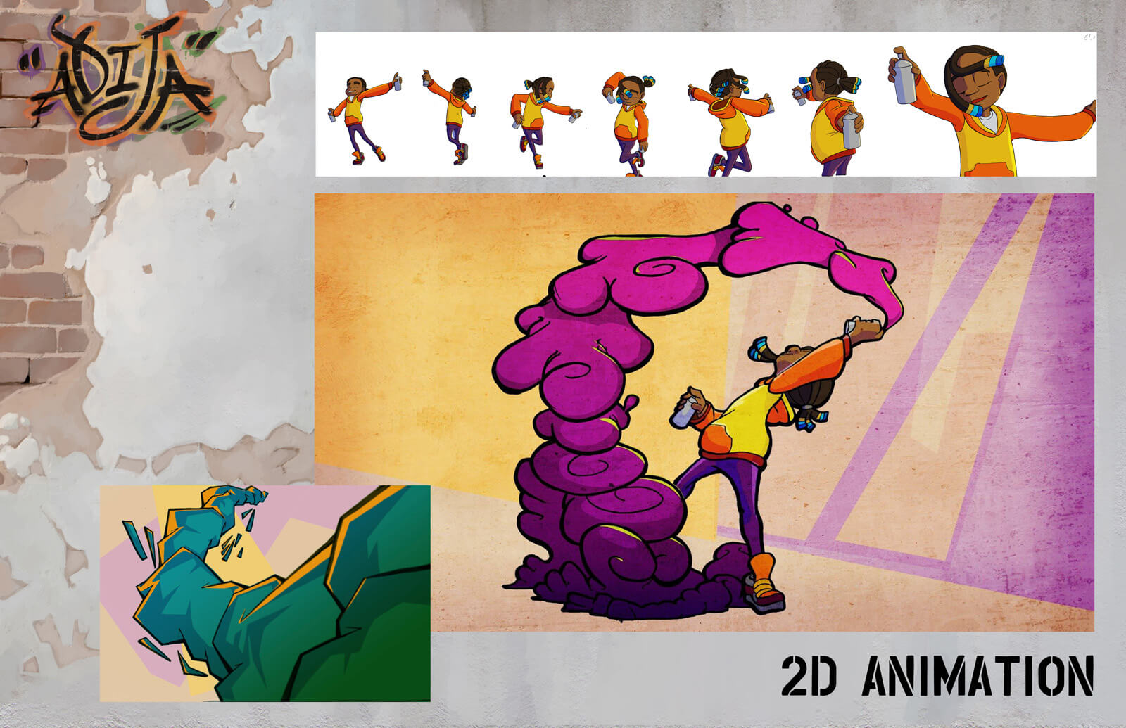 2D animation sheet depicting a young girl in the middle of spray-painting her artwork