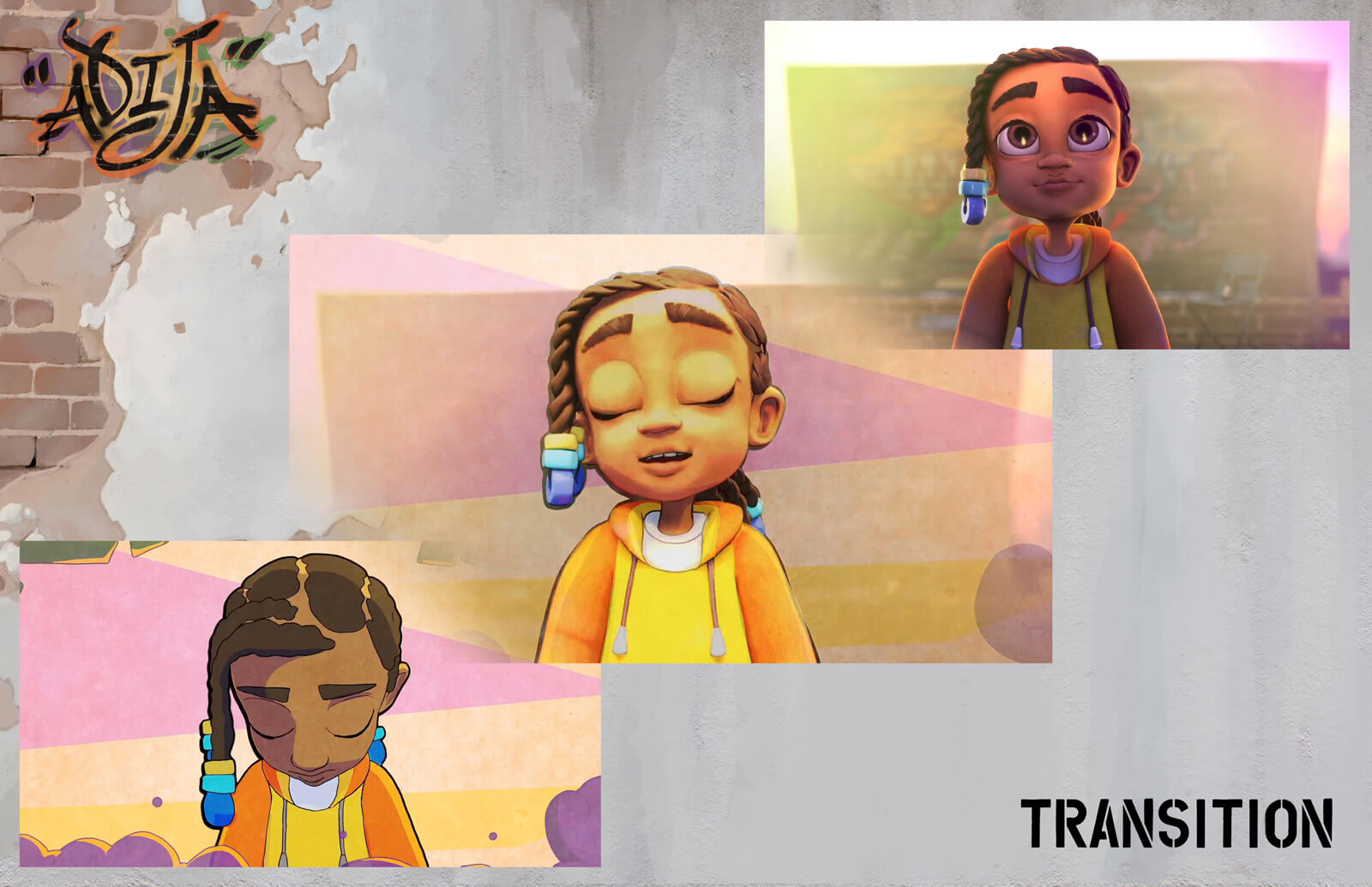 Presentation slide depicting the transition between 2D and 3D animation in the film Adija