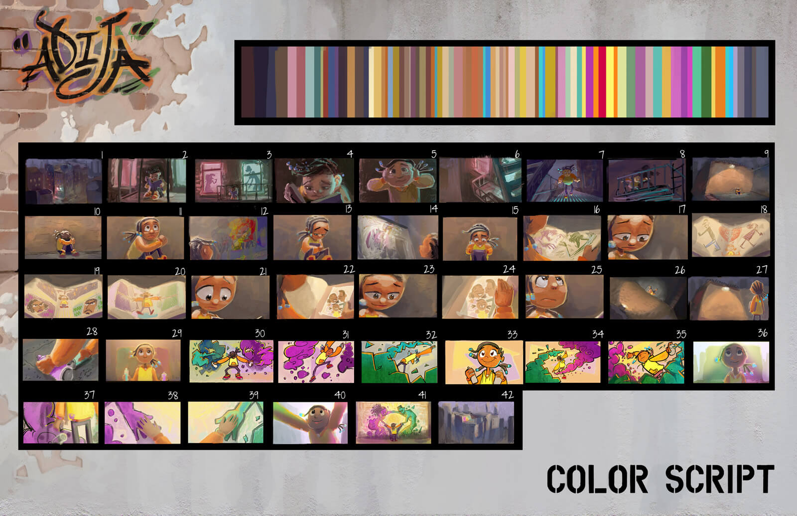 Color storyboard of the film Adija depicting the action from the beginning to end