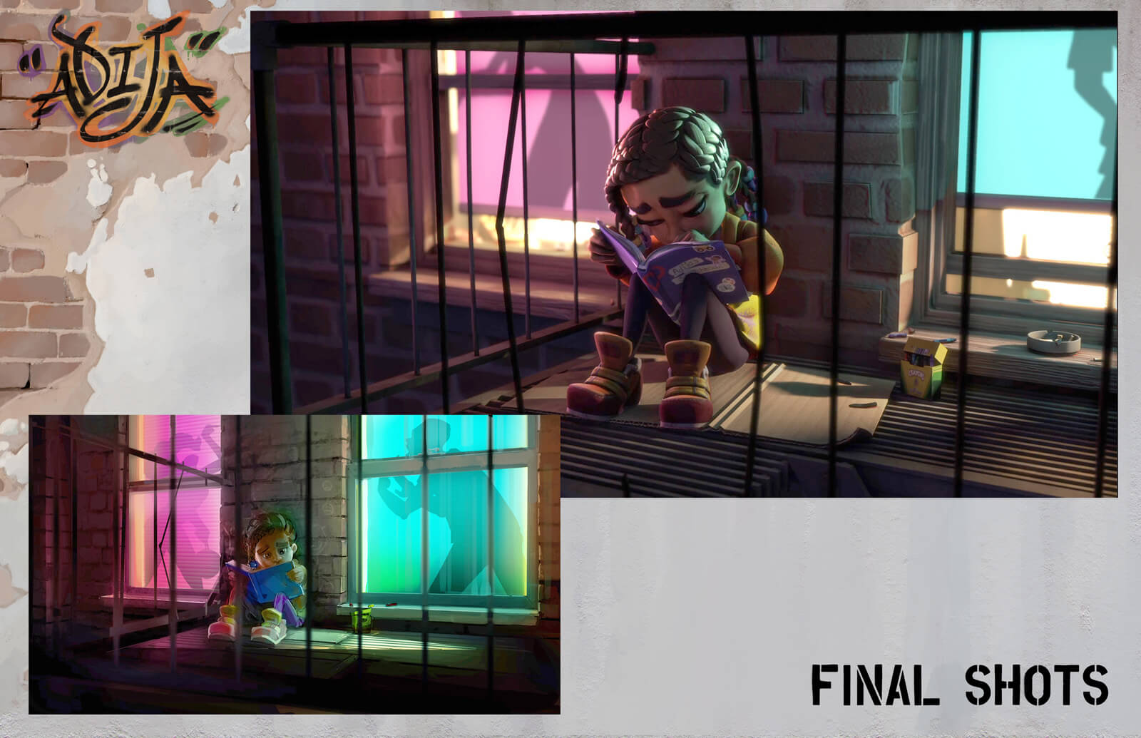 Side-by-side comparison of concept and final shot of young girl out on a fire escape coloring in a book