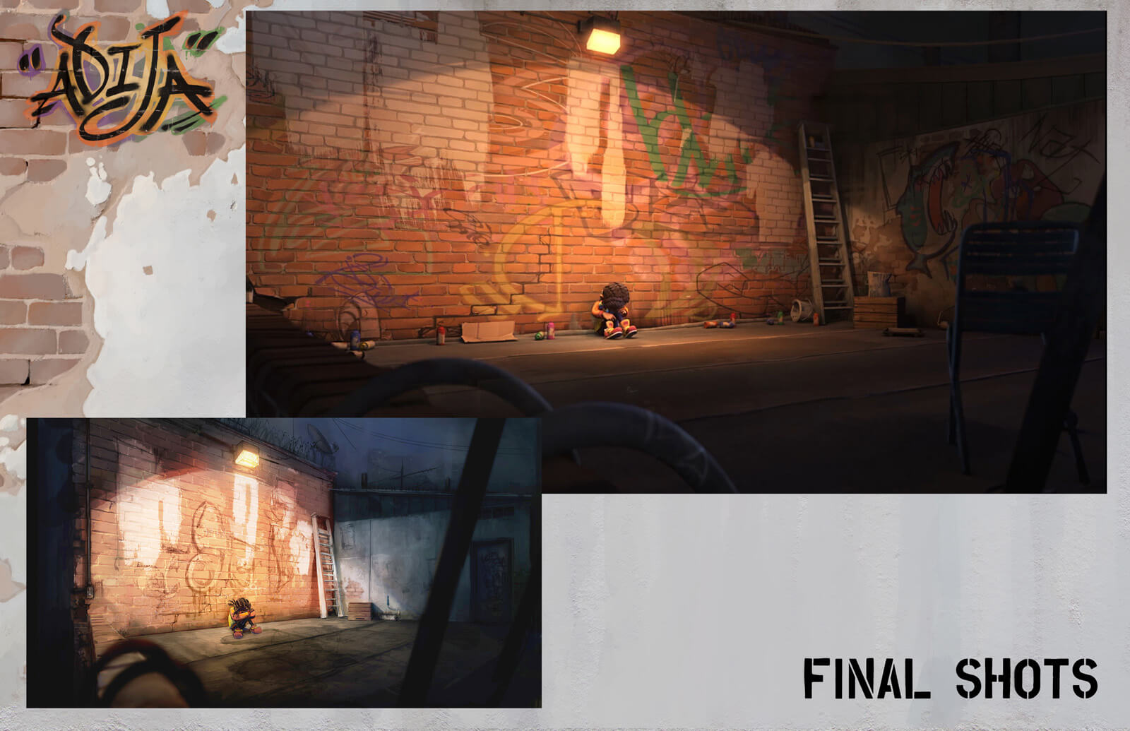 Side-by-side comparison of concept and final shot of young girl sitting against a graffiti wall