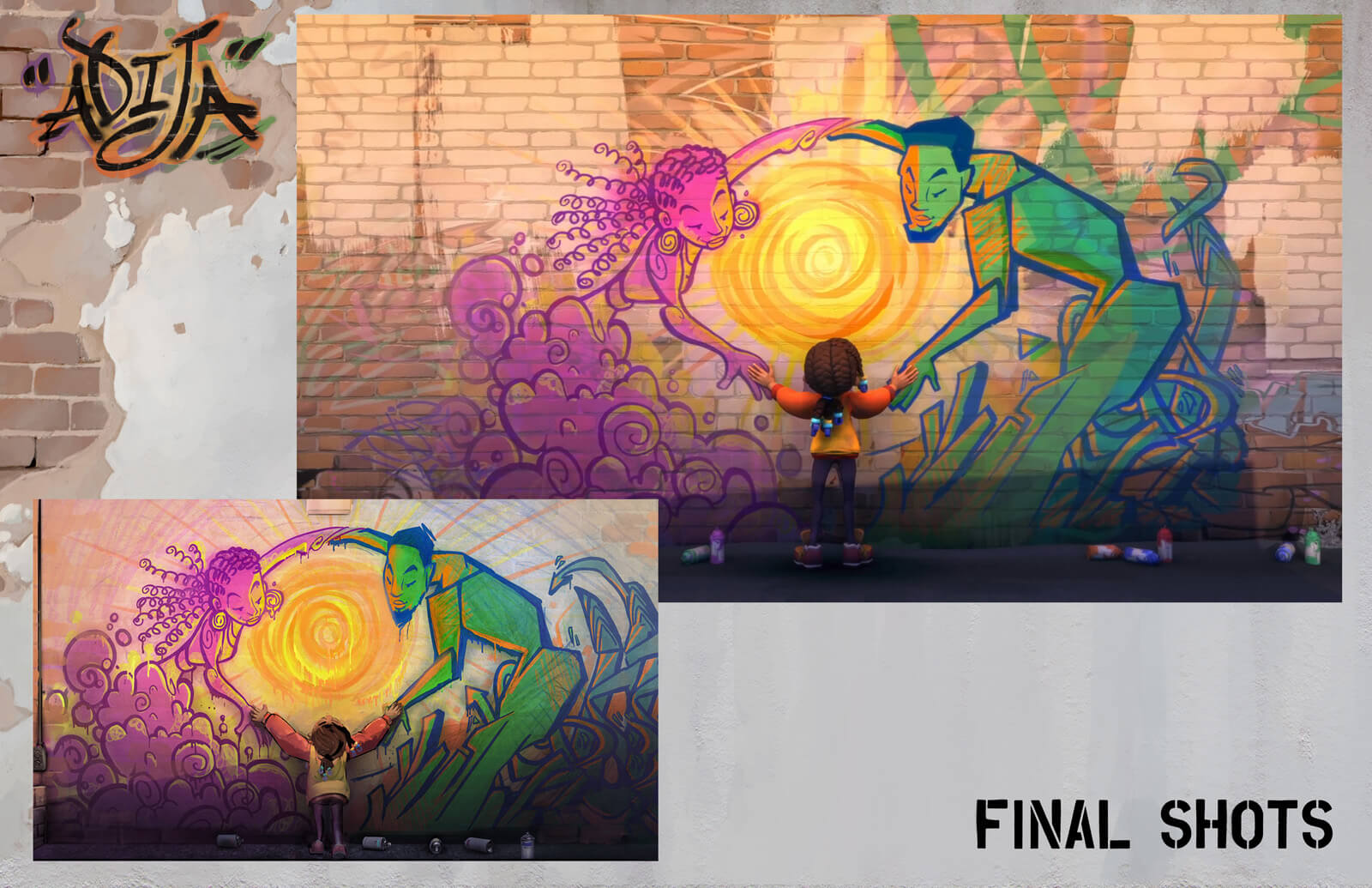 Side-by-side comparison of concept and final shot of young girl standing against wall full of the spray-painted art she made