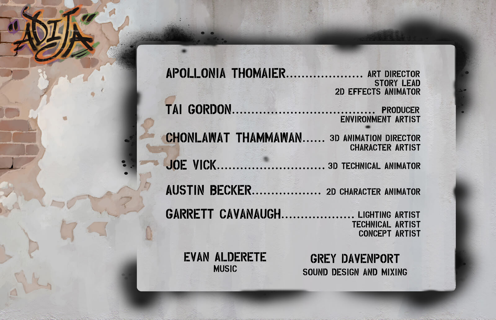 Credits for the film Adija in a stylized format of a spray painted background