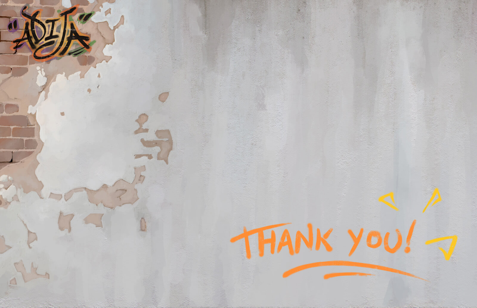 "Presentation slide of a bare plastered brick wall with ""Thank You!"" written in orange in the bottom-right corner"