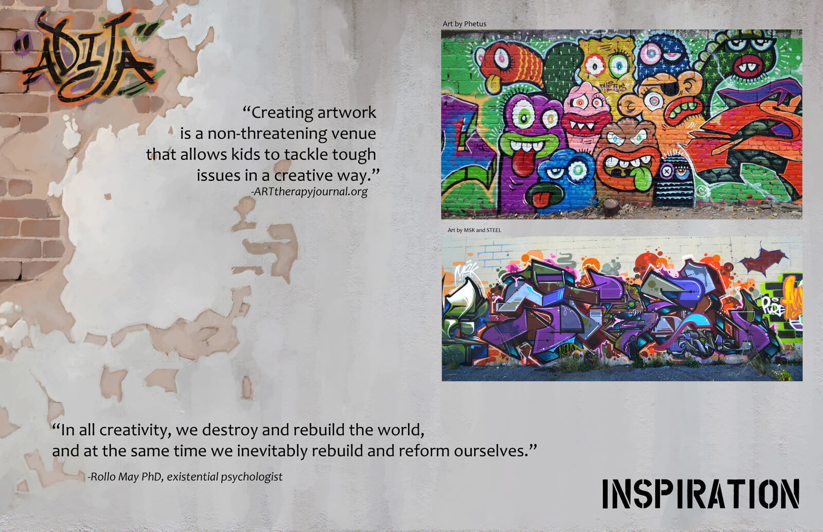 A presentation slide explaining the inspiration for the film Adija. Two images of colorful graffiti walls are seen.