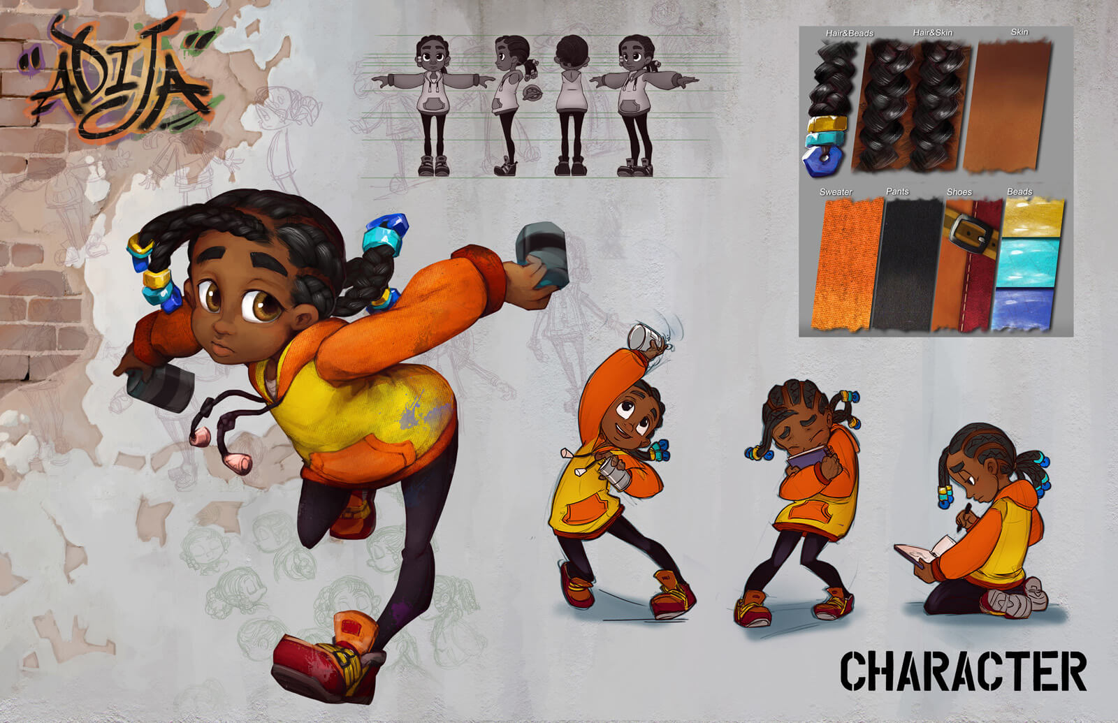 Character design sheet for the film Adija, showing several versions of the young protagonist and detail of her apparel