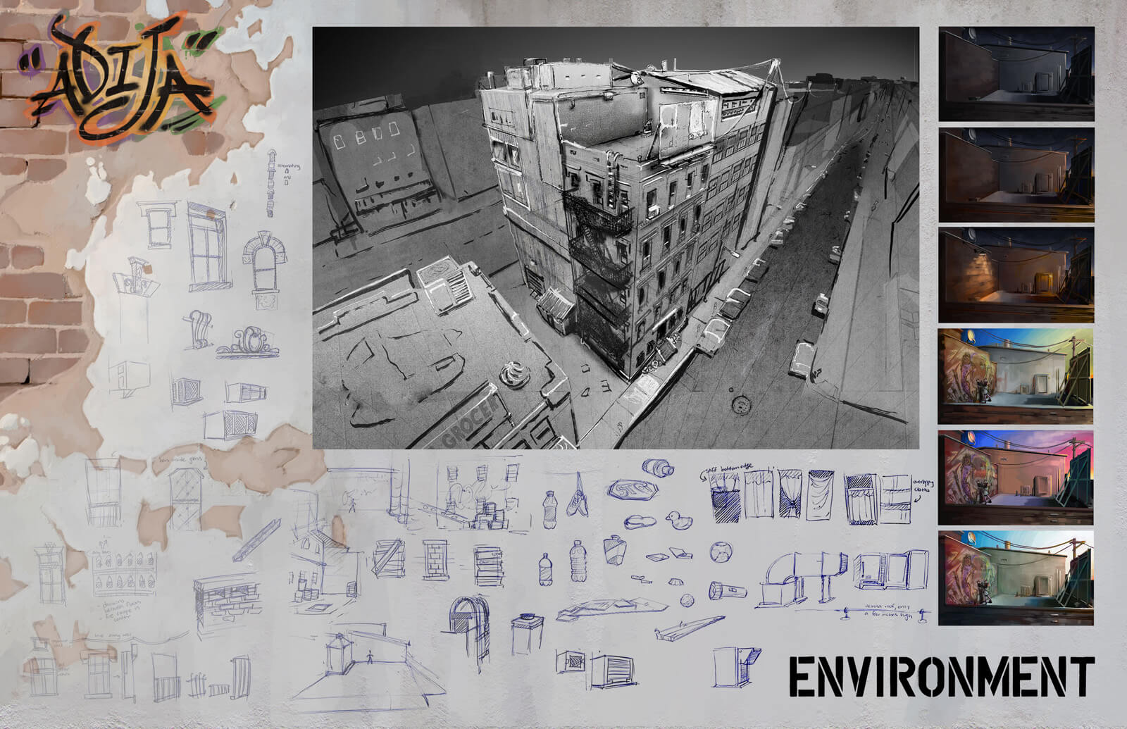 Environmental design sheet showing rough sketches of the apartment building exterior seen in the film Adija