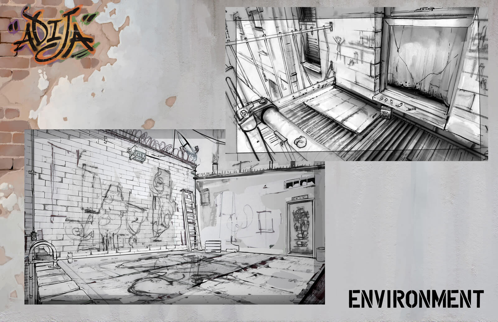 Environmental design sheet showing sketches of the apartment fire escape and roof seen in the film Adija