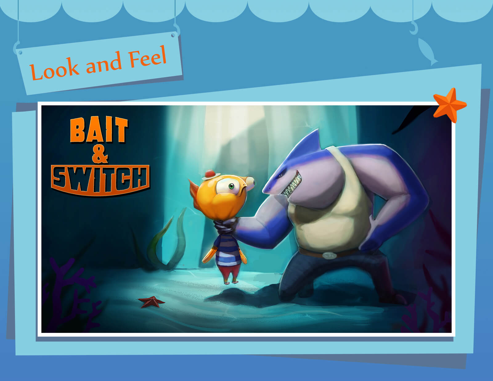 Look and Feel presentation slide for film Bait & Switch depicting a large shark choking a small orange fish by the neck