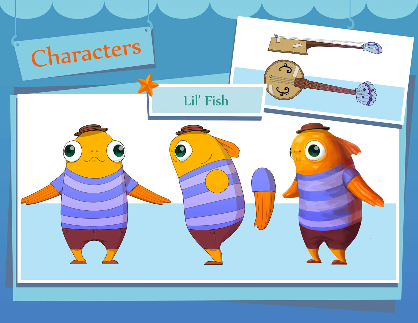 2D color sketches and drawings of an orange fish in a striped blue t-shirt with a banjo, labeled Lil' Fish