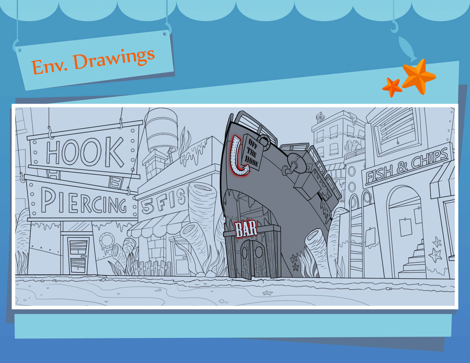 Environmental sketches and drawings of underwater street and buildings seen in the film Bait & Switch
