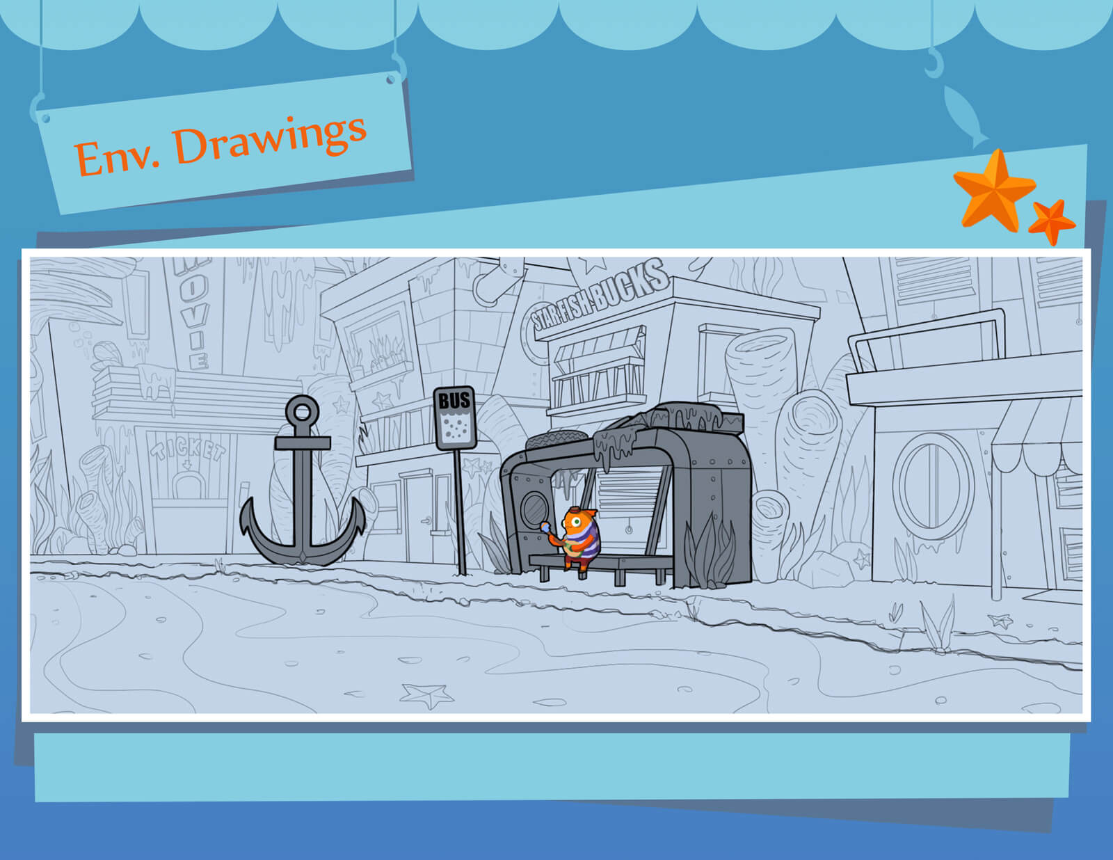 Environmental sketches and drawings of underwater bus stop and orange fish from the film Bait & Switch