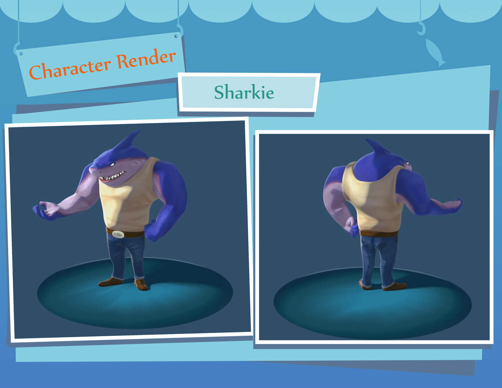 "A fully rendered 3D model of a purple shark in jeans and a white shirt labeled ""Sharkie"""