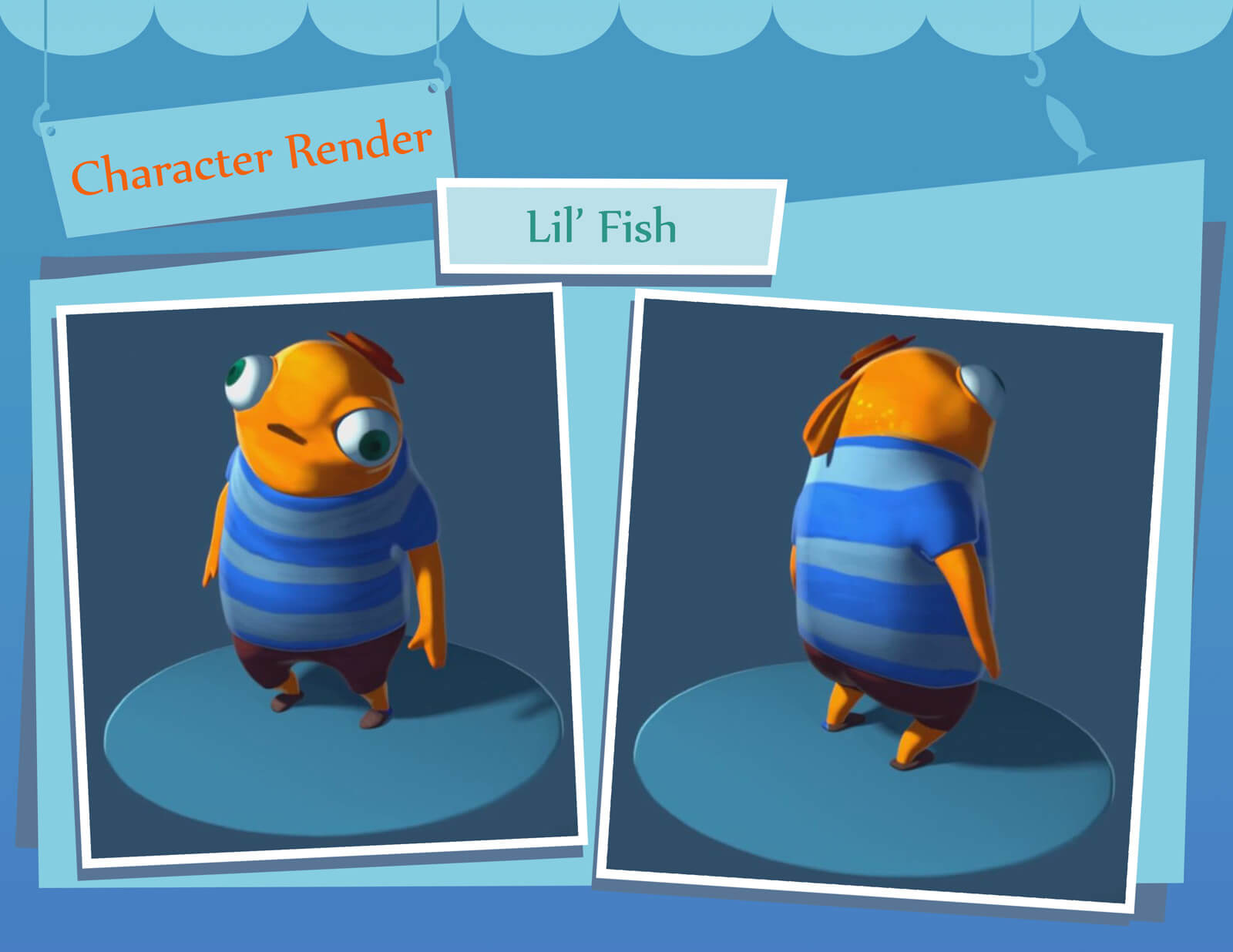 "A fully rendered 3D model of an orange fish in a blue-striped shirt and red hat labeled ""Lil' Fish"""