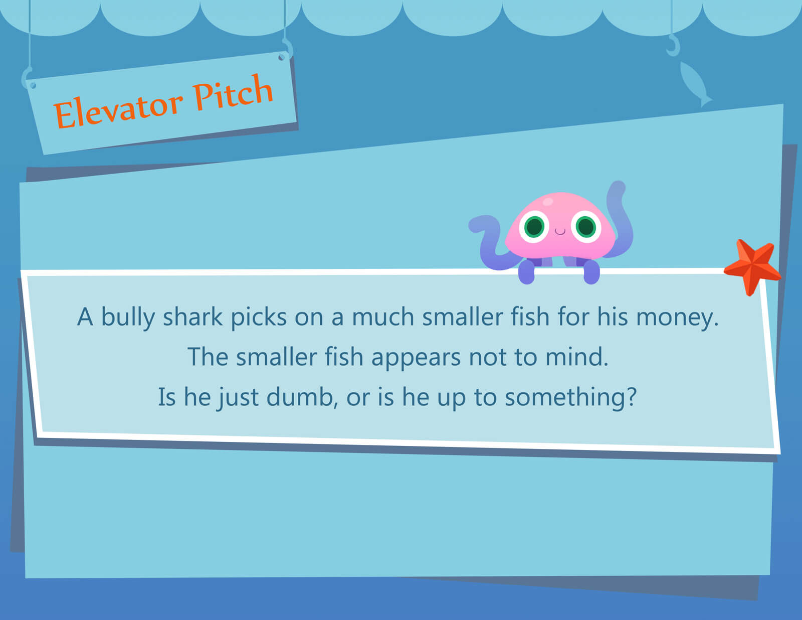 Elevator Pitch presentation slide for the film Bait & Switch. A pink jellyfish character can also be seen.