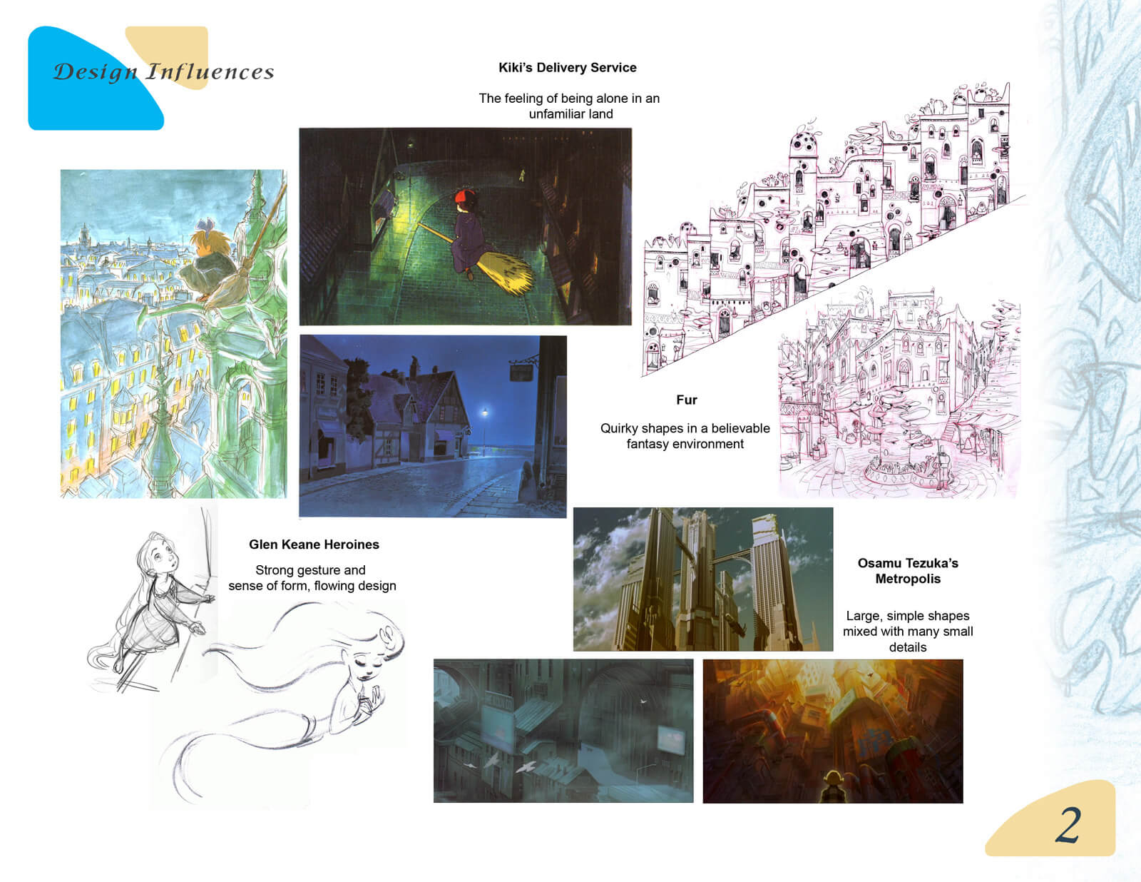 Presentation slide depicting the design influences of Beneath the Night Sea, including Kiki's Delivery Service and Metropolis