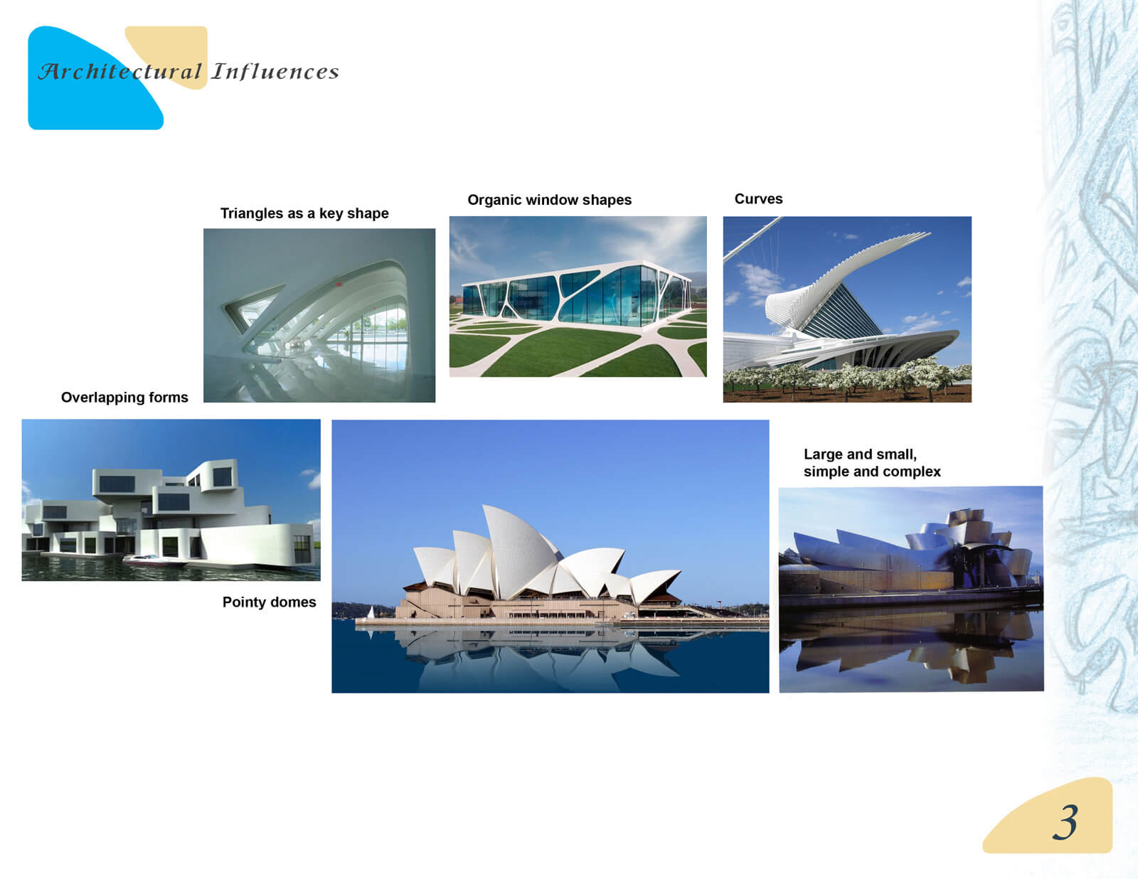 Presentation slide depicting various post-modern architectural influences in the design of Beneath the Night Sea