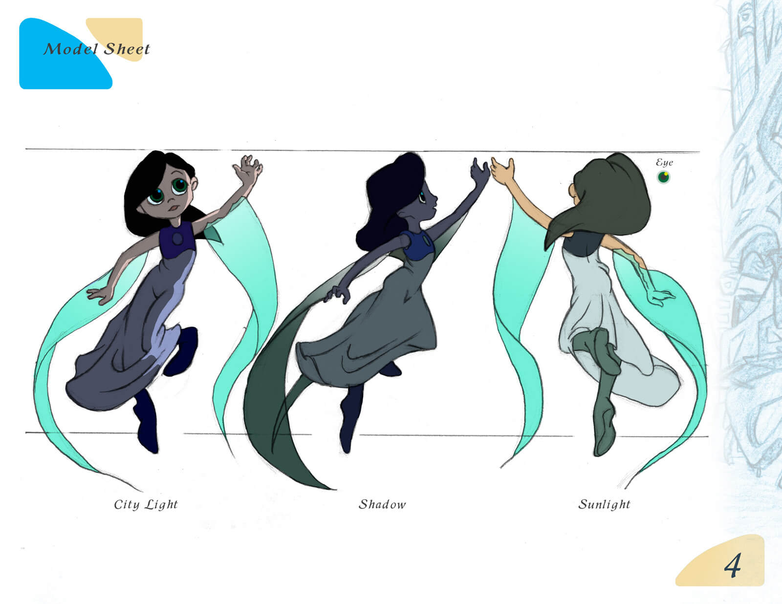 Model sheet depicting 2D drawings of the young protagonist of Beneath the Night Sea in various lighting schemes