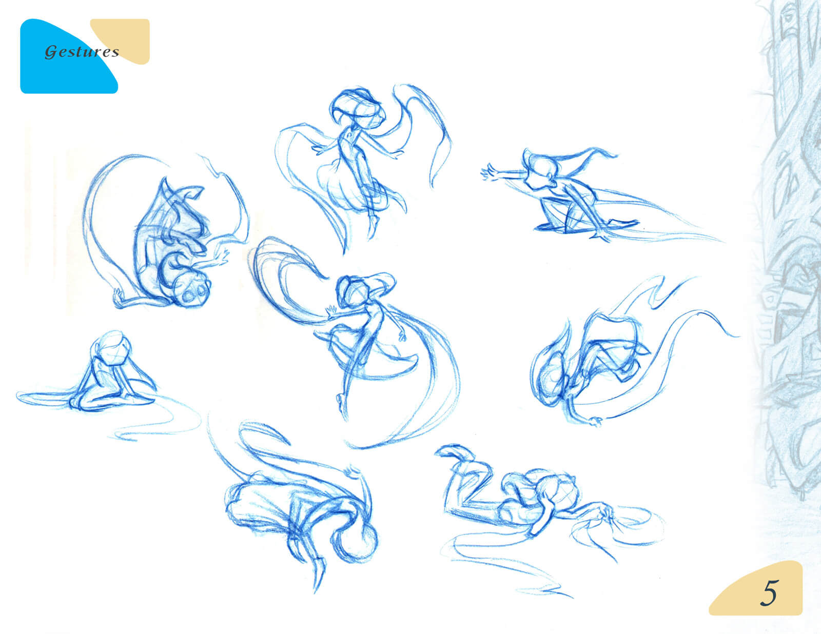 Various outline sketches of a human form in several poses for the film Beneath the Night Sea