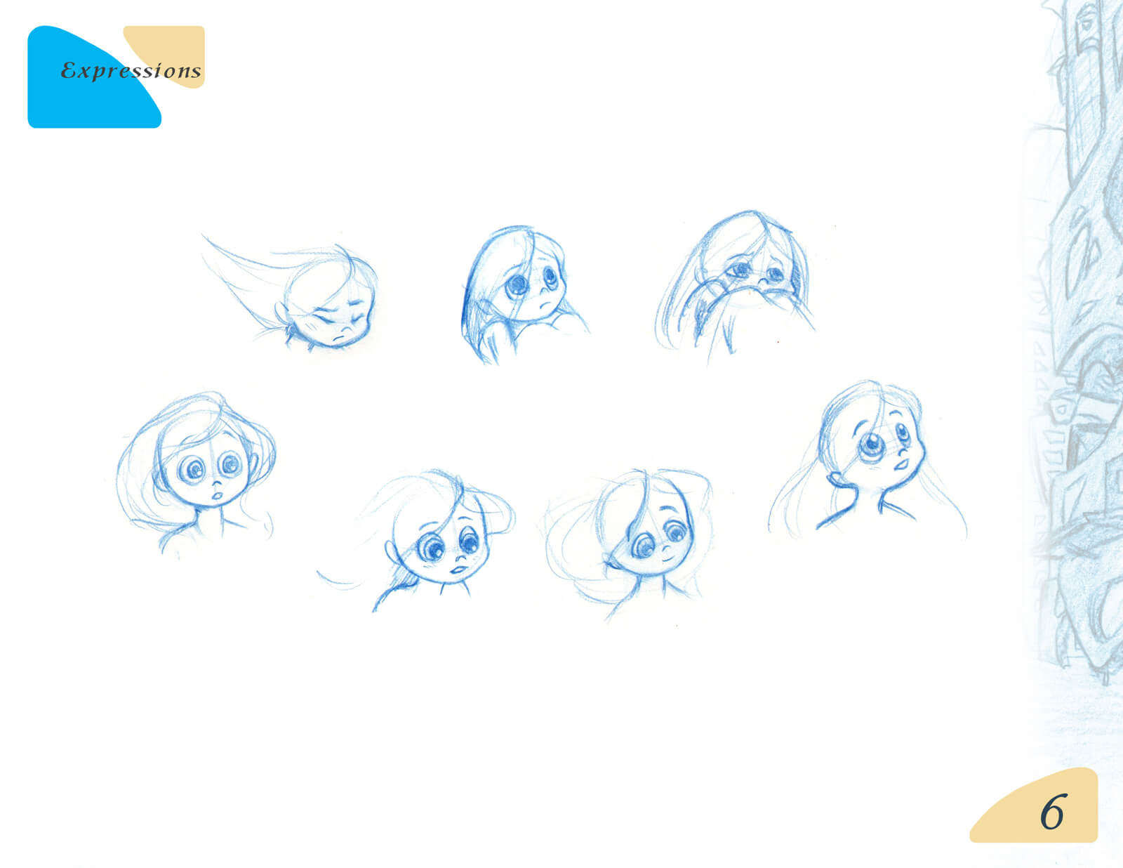 Various outline sketches of the facial expressions of a young girl for the film Beneath the Night Sea