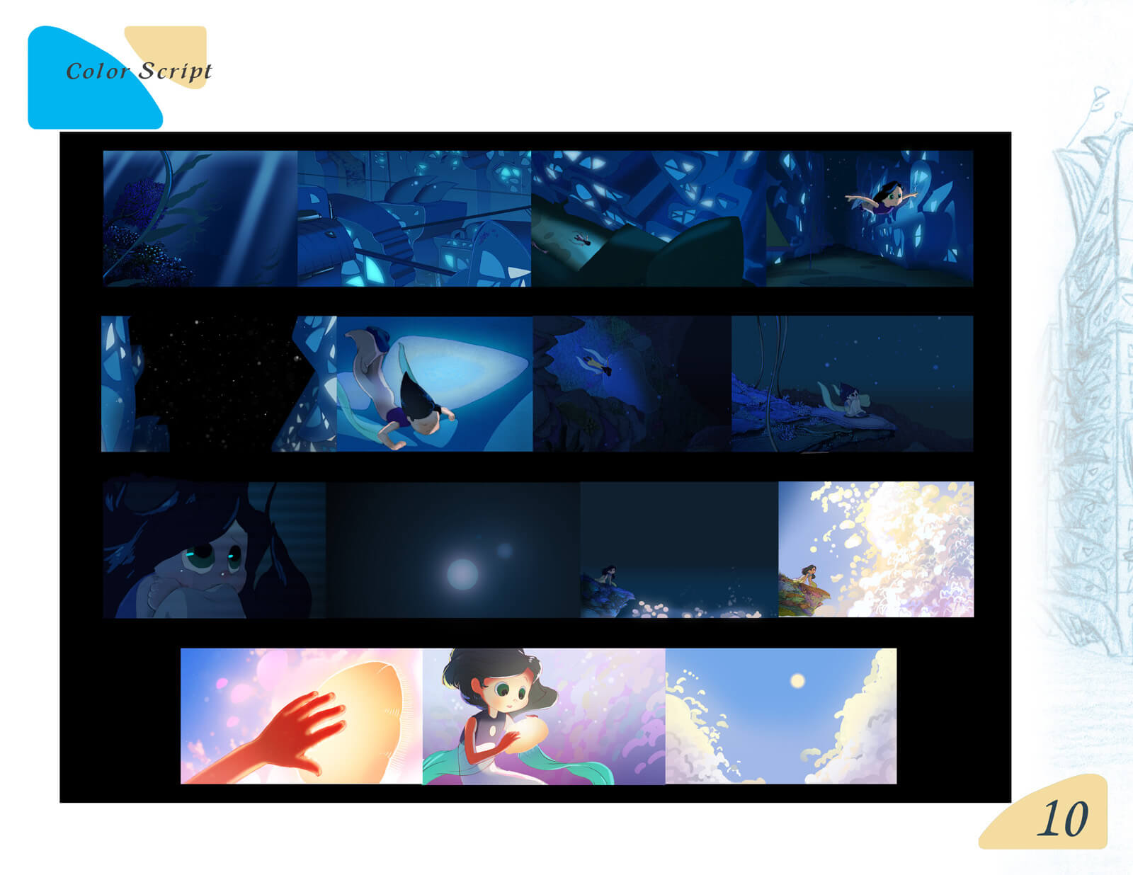 Color storyboard depicting the story of the film Beneath the Night Sea, from beginning to end