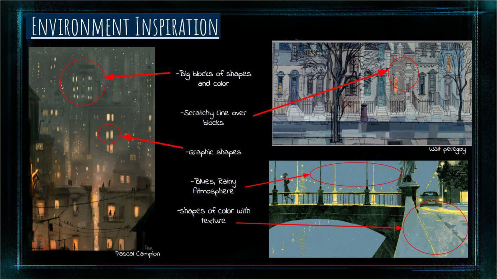 "An ""Environment Inspiration"" slide, showing real world photos of urban locales that inspired the film's environments."
