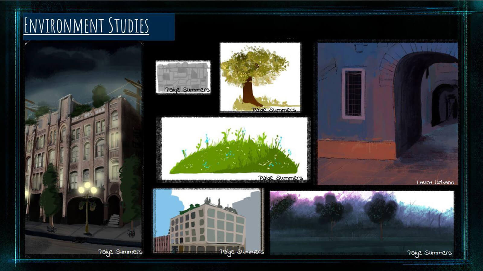 "An ""Environment Studies"" slide, showing development stage drawings of background elements in the film."
