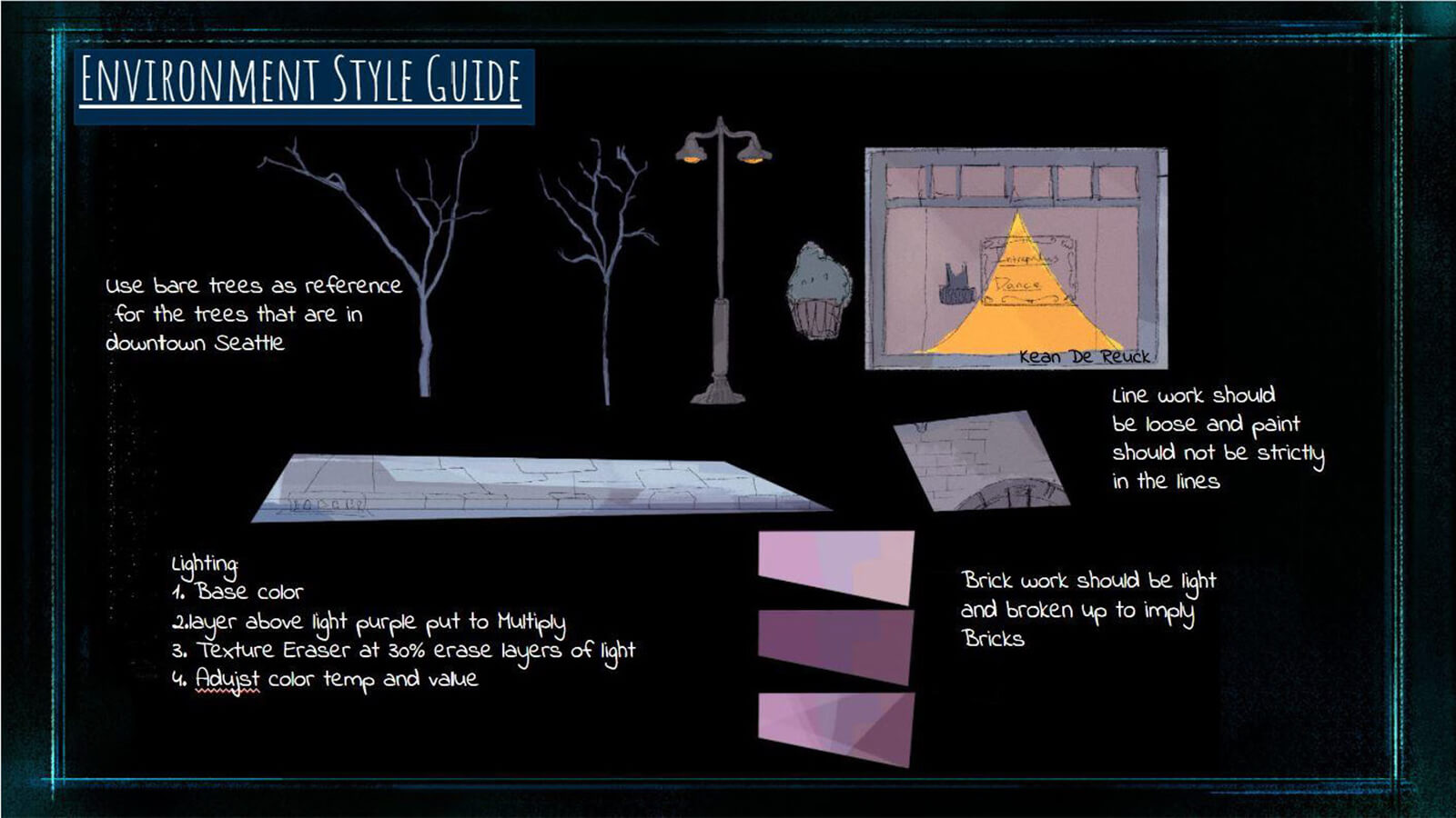 "An ""Environment Style Guide,"" showing rules the team followed to achieve a unified look for the film's background visuals."