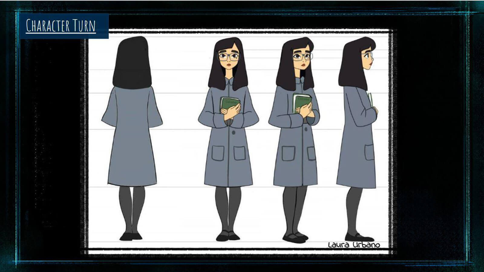 "A ""Character Turn"" sheet for the film's main character Tristesse, showing her from a front, back, and side profile."