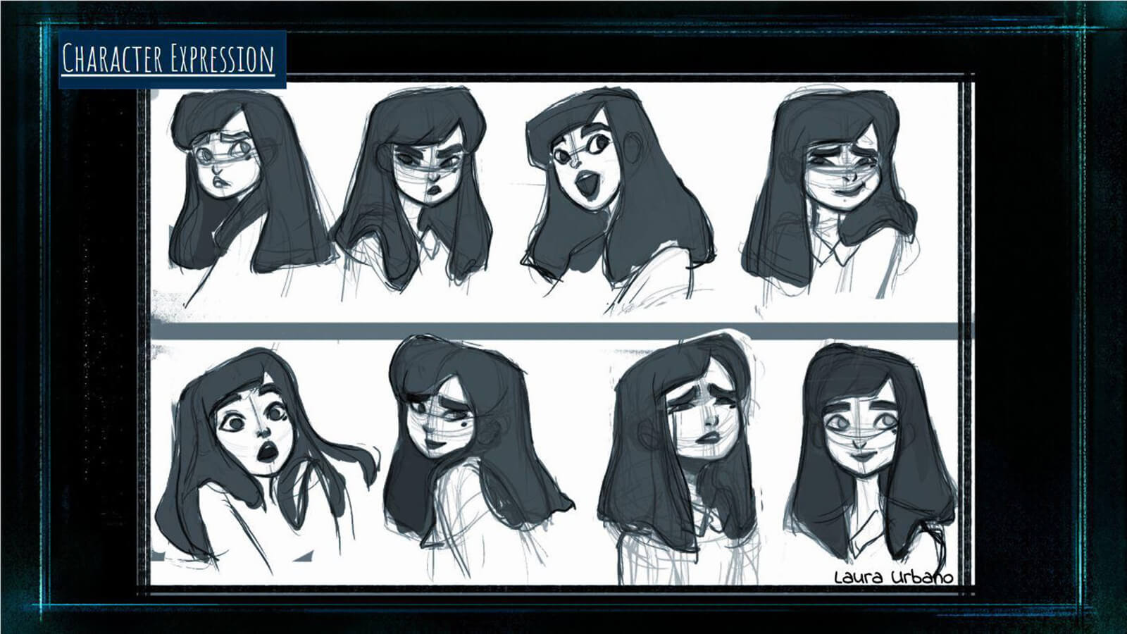 "A ""Character Expression"" sheet showing the film's main character Tristesse making various facial expressions."