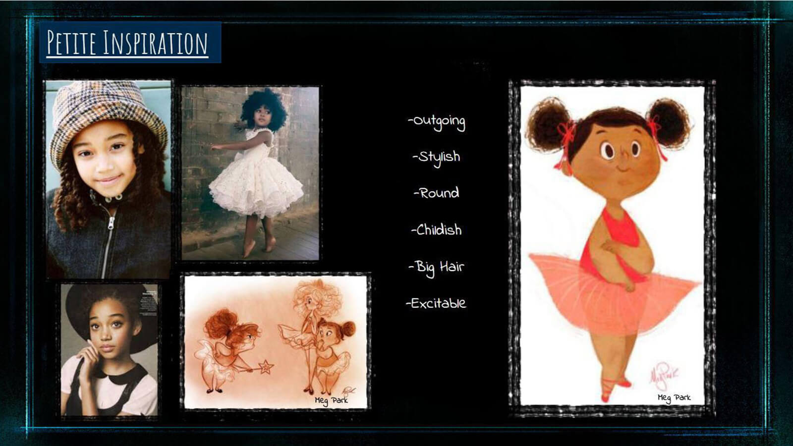 "An inspiration board for the look and feel of the film's young girl character ""Petite."""