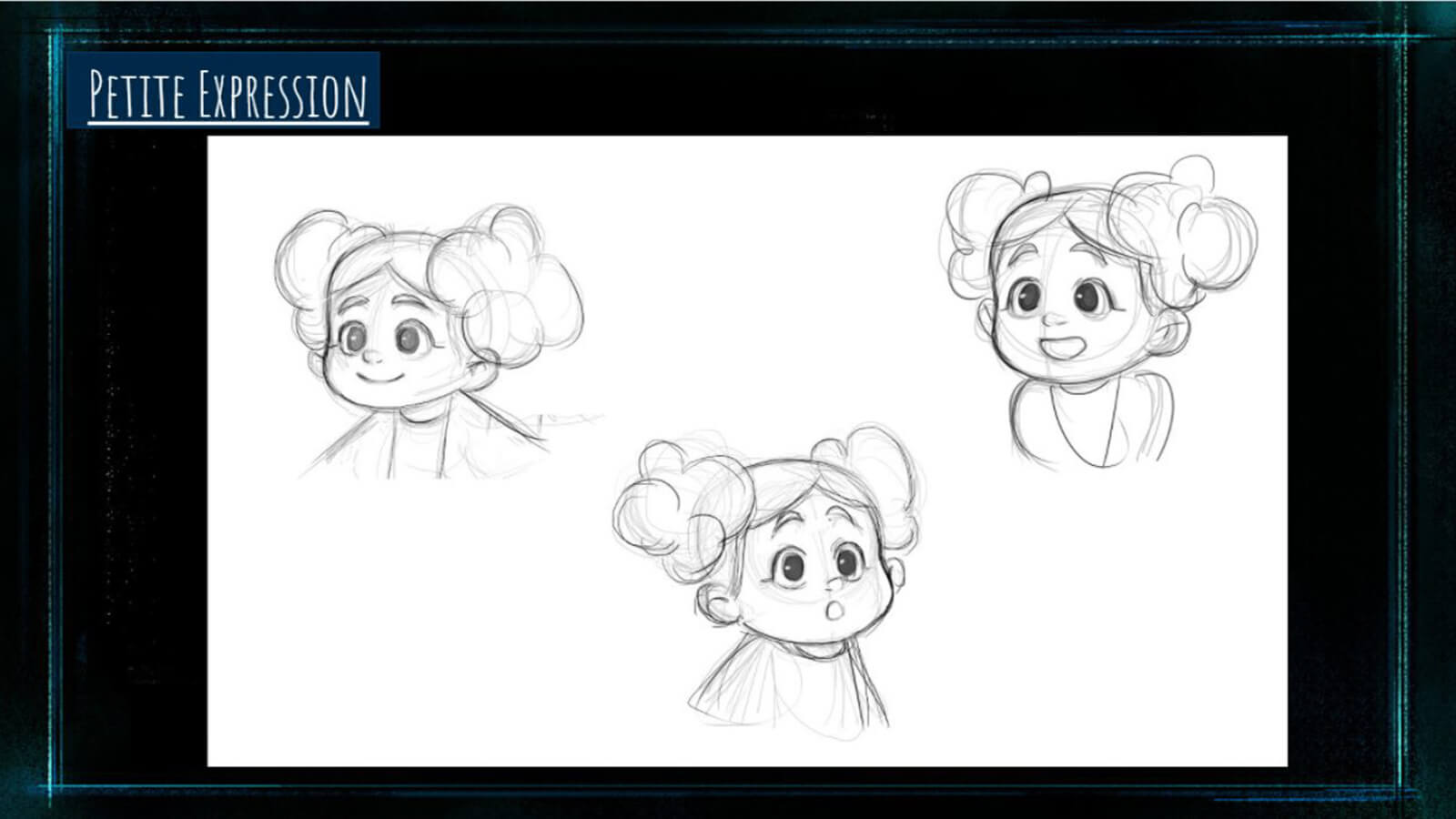 "A ""Character Expression"" sheet showing the film's character Petite making various facial expressions."