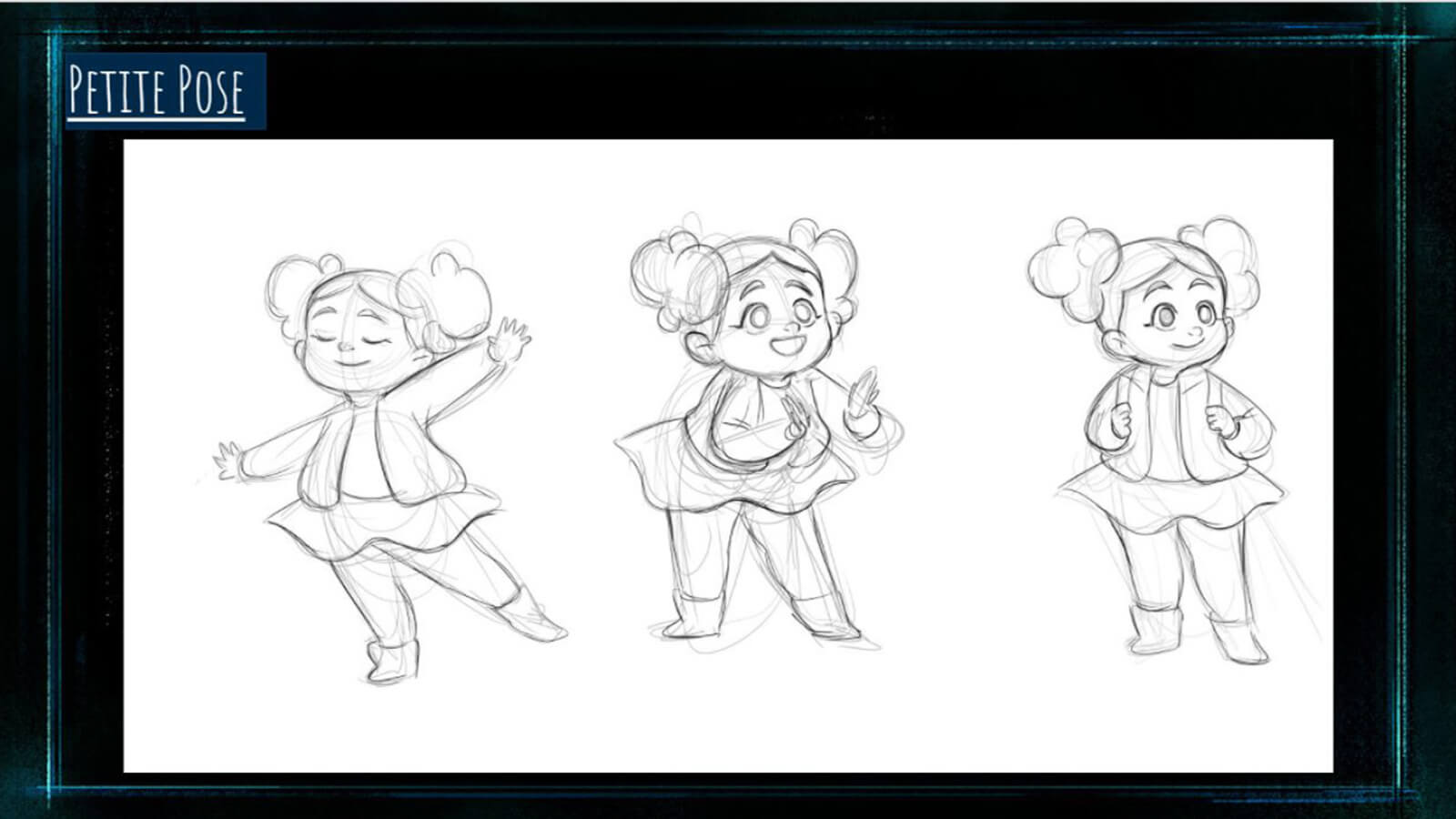 "A ""Petite Pose"" sheet, showing the film's character Petite dancing, clapping, and holding her backpack straps."
