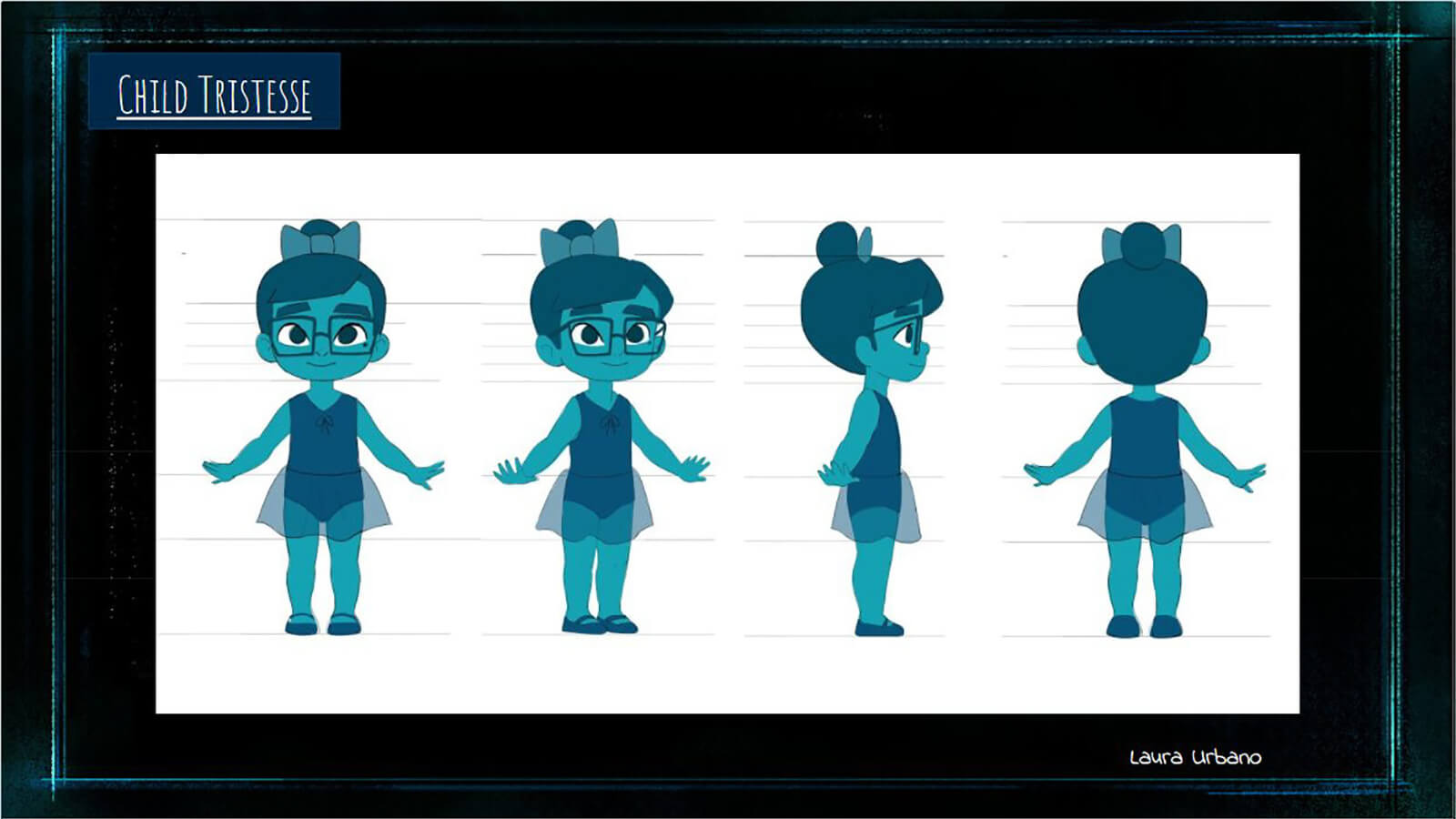A character turn sheet for the turquoise child version of the film's main character Tristesse.