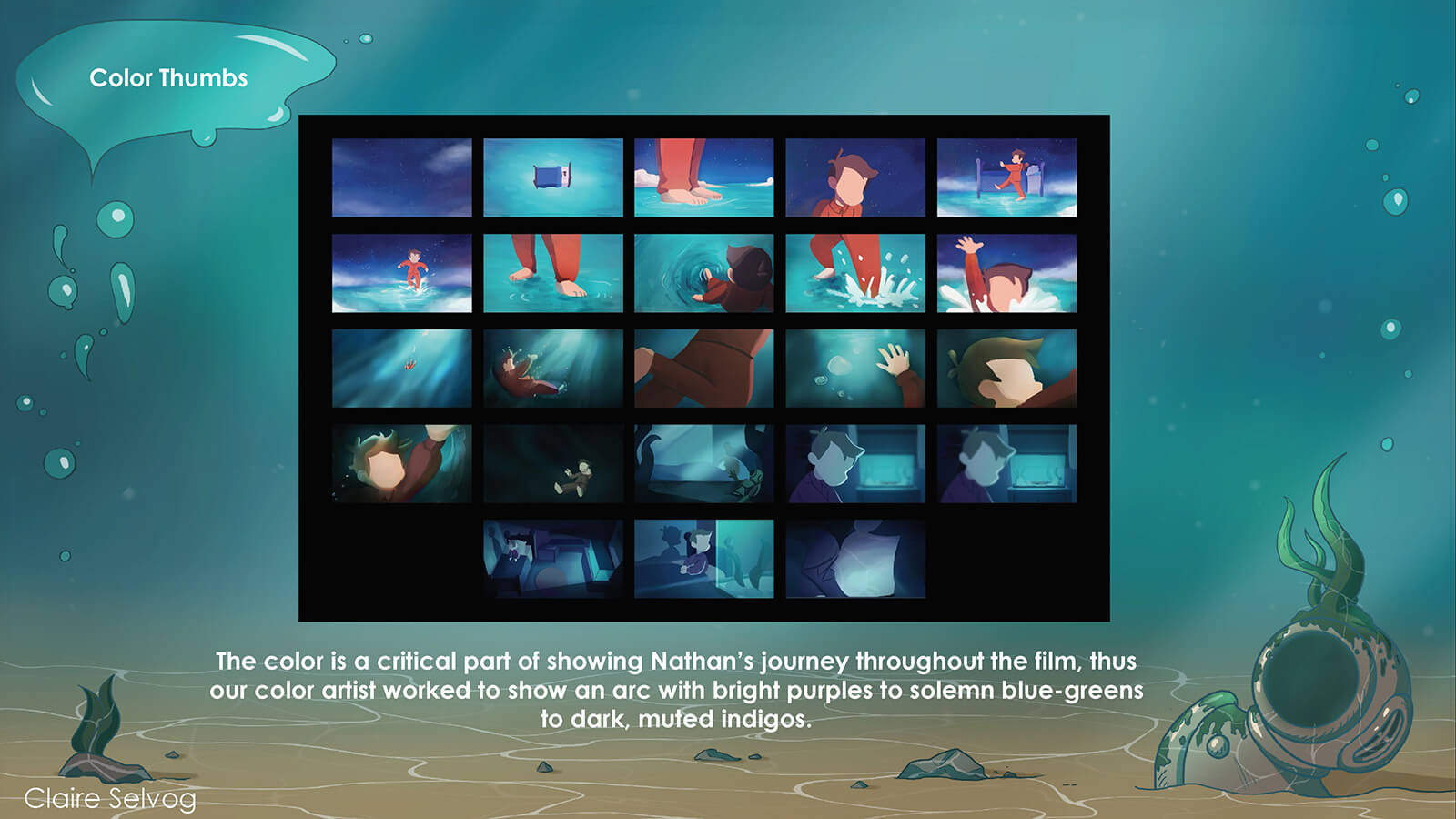 Storyboard focusing on the colors in each scene of the film Fathom