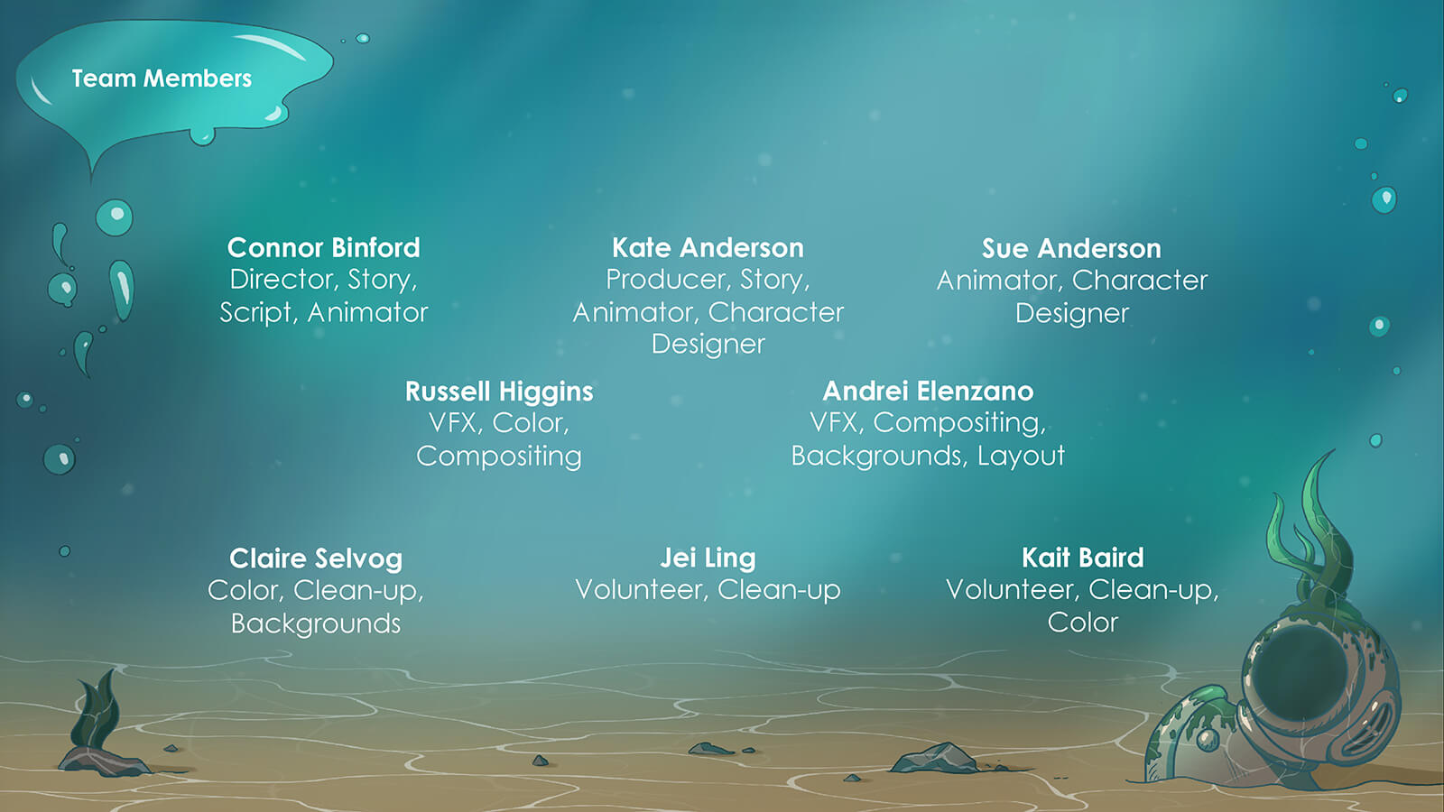 Production credits for the film Fathom