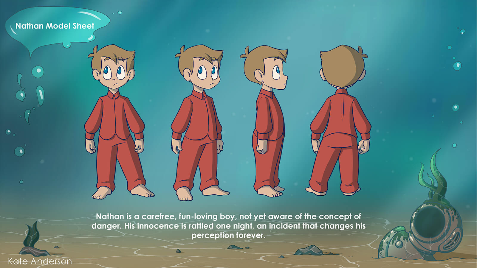 Turnaround and character description for Nathan