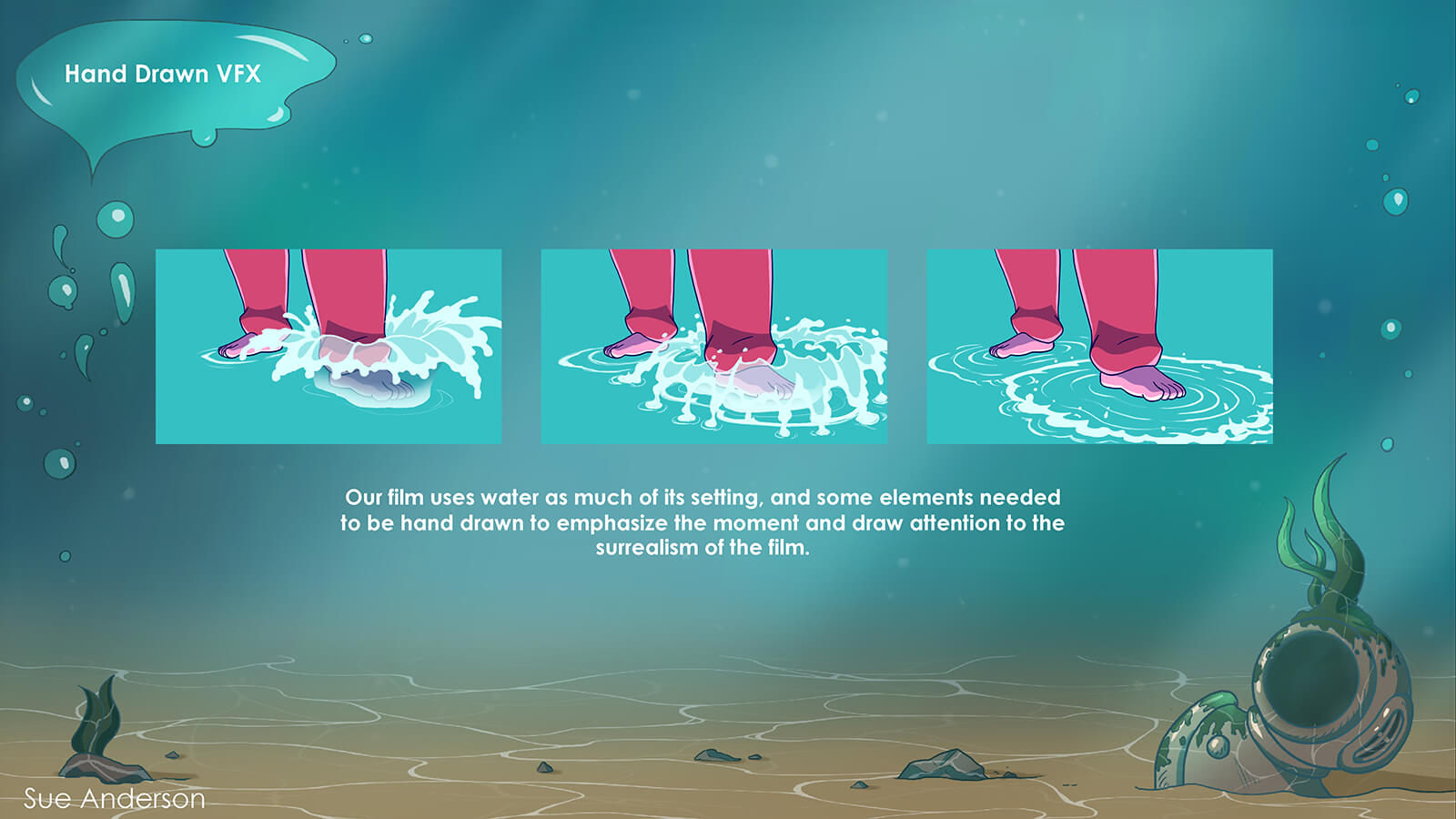 Concept for the animation of the splashing of water in the film Fathom