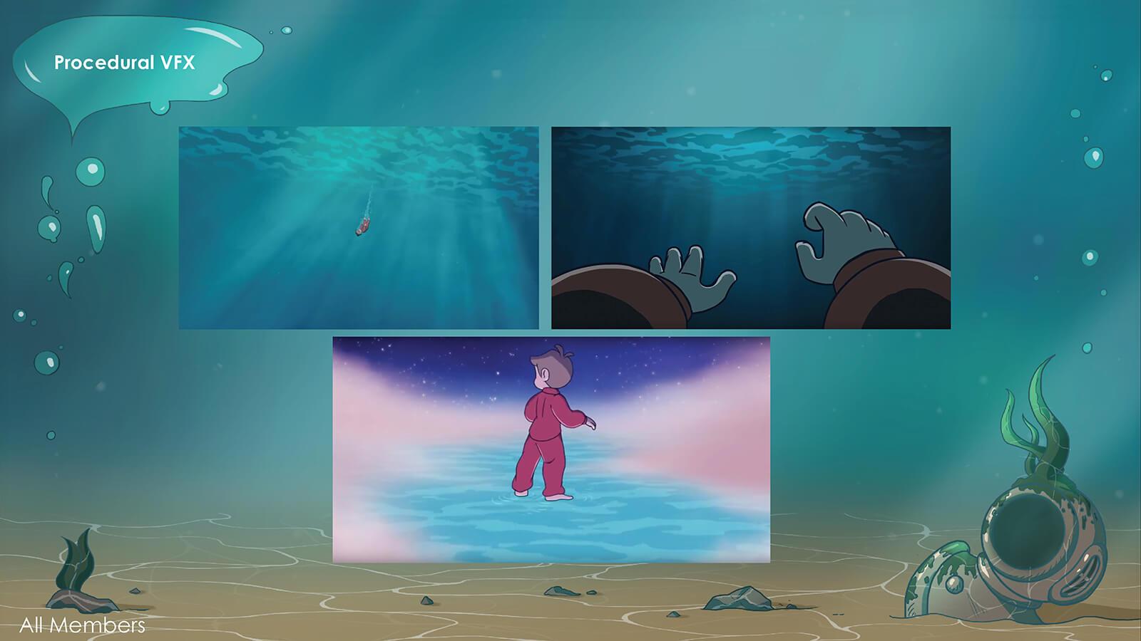 Three scenes stills from the film Fathom