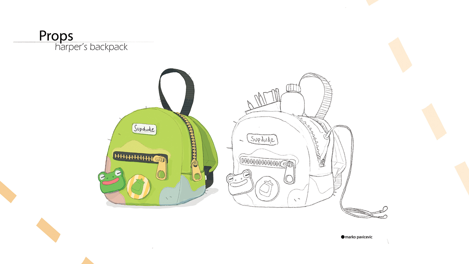 Sketch of a child's backpack.