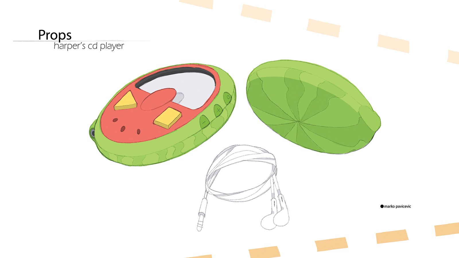 Sketch of a child's portable CD player.