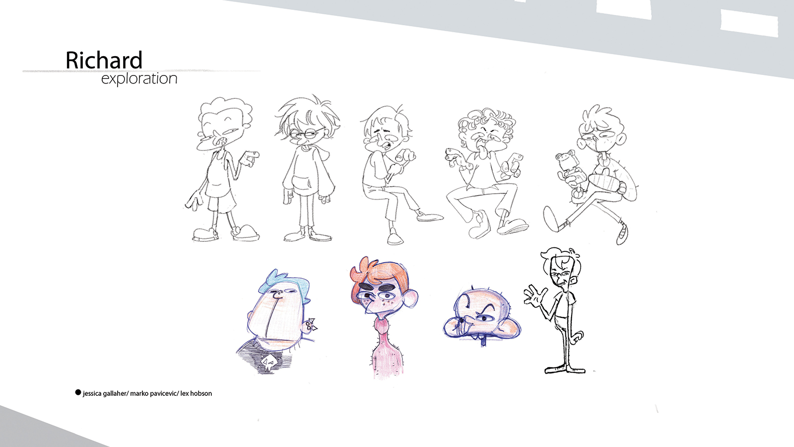Concepts and sketches for Flap character Richard.